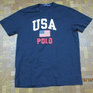 Polo Ralph Lauren USA FLAG POLO T-shirt Blue XL